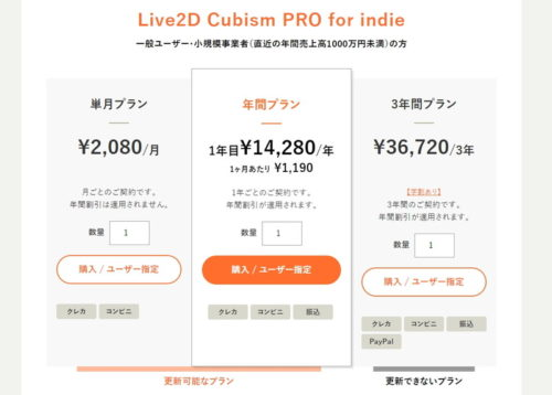 Live2D 料金比較