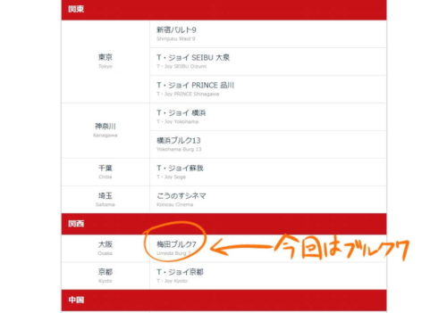 U-NEXT ポイント 劇場チケット 梅田ブルク7